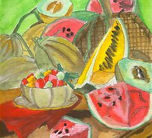 Summer Produce Watercolors Poster, Print & Card by Oldetimemercan