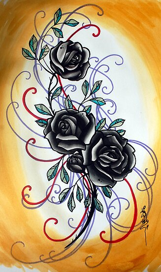 black roses by resonanteye