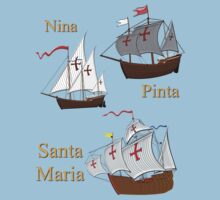 Nina, Pinta and Santa Maria T-shirt by Dennis Melling
