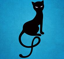 Blue Gracious Evil Black Cat IPhone Case by Boriana Giormova