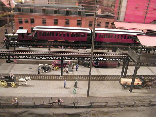 Diorama of 19th Century Elevated Trains and Railroads, New York Transit Museum, Brooklyn, New York  by lenspiro