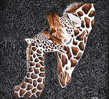 Giraffe Baby Love by ArtbyMinda