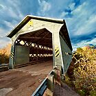 Wooden covered bridge in Quebec, Canada by 3523studio