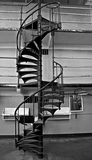 Spiral Staircase - Alcatraz Island, San Francisco by Phil McComiskey
