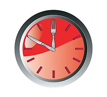 wall clock spoon and fork eating time  by patrimonio