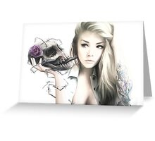 Girl With The Skull Greeting Card