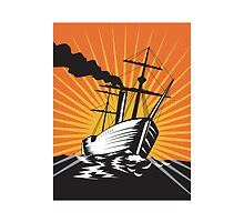 Sailing Ship Retro Woodcut  by patrimonio
