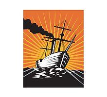 Sailing Ship Retro Woodcut  by patrimonio