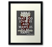Ben Franklin on Beer Framed Print