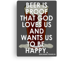 Ben Franklin on Beer Canvas Print
