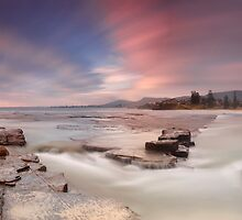 Little Austinmer rock shelf dawn by donnnnnny