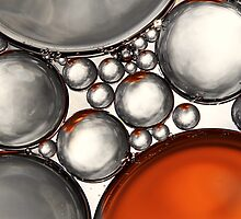 Mercury & Bronze Bubble Abstract by Sharon Johnstone