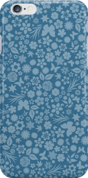 Flower & Butterfly Pattern - Blue by chayground