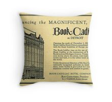 Vintage Detroit Ad for the Book Cadillac Hotel in 1926 Throw Pillow