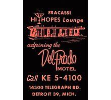 Vintage Detroit Del Prado Motel Ad Photographic Print