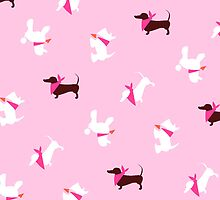 Pooches in Pink by offleashart