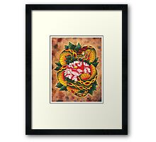 Snake and Peony Flower Framed Print