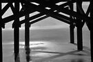 Fog Comes To The Beach B&W by ©Dawne M. Dunton