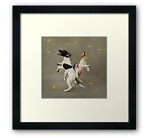 Puppies and Floating Feathers Framed Print