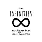 "The Fault In Our Stars / TFIOS by John Green - ""Some Infinities Are Bigger Than Other Infinities"" (White) by runswithwolves"