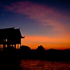 Pagoda during sunset in Cambodia by tpfeller