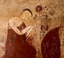 Wall painting of a buddhist monk  by Peter Voerman