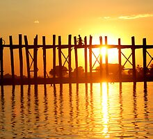 U bein bridge Burma/ Myanmar  by Peter Voerman