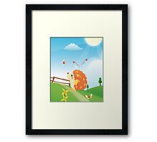 Cute Love Hedgehog with Butterfly Sunny Day Framed Print