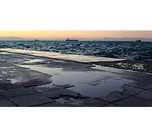 A cold, windy afternoon in the coast of Thessaloniki Photographic Print
