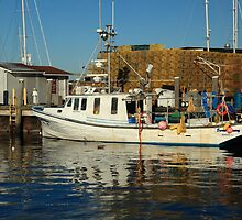 Fishing Boat and Docks, Newport, Rhoide Island by Roupen  Baker