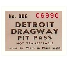 Vintage Detroit Dragway Pit Pas ca. 1965 Art Print
