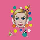 Twiggy Mod Retro Pink Bubbles Art 1960s vintage fashion by dollyforsue