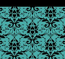 Blue Black Damask Pattern by Cierra Doran