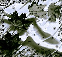 Newly Fallen Leaves -Black and White by MSRowe Art and Design