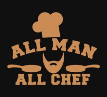 All man all Chef! with cook's hat and saucepans  by jazzydevil