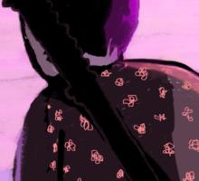 Lonely samurai and moonlight Sticker