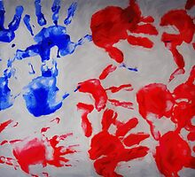american flag handprints 3 by Adam Asar