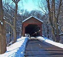Meems Bottom Covered Bridge In Snow by James Brotherton