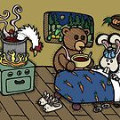 Teddy Bear And Bunny - The Flu by Brett Gilbert
