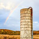 Farm Silo and Rainbow by Kenneth Keifer