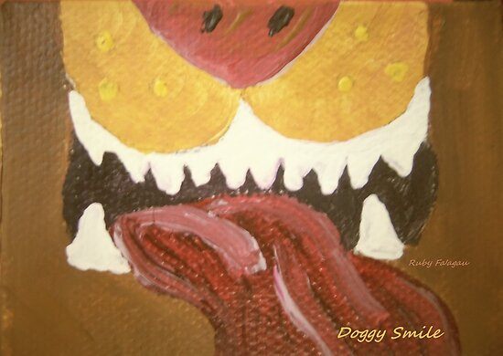 """""""Doggy Smile"""" painting by RubyFaagau"""