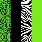 Green Zebra and Leopard Animal Print Stripes by JannaSalak