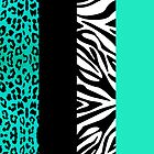 Aqua Blue Zebra and Leopard Animal Print Stripes by JannaSalak