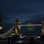 London 2012 - Olympic Rings at Tower Bridge by Mitch Waite