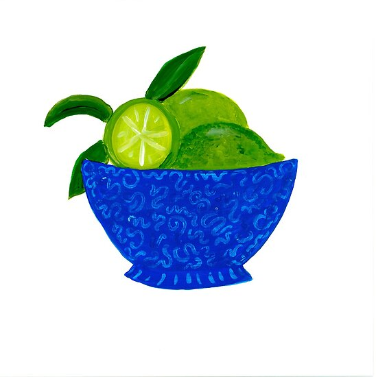 Blue Bowl of Limes by lemondaisy