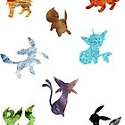 All Eeveelutions Elementals by Gage White