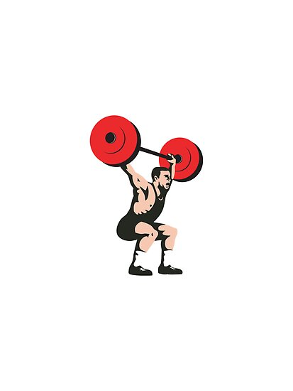 Weightlifter Lifting Weights Retro by patrimonio