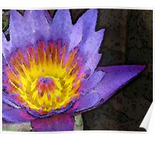 Purple Lotus Flower - Zen Art Painting Poster