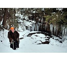 Winter Hiker At The Cliff's Edge Photographic Print