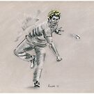 Lasith Malinga - original cricket drawing by Paulette Farrell